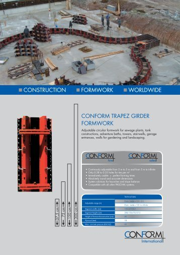 construction formwork worldwide conform trapez girder formwork