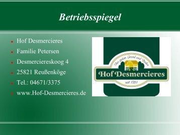 Hof Desmercierces - Regionaler Aufbruch