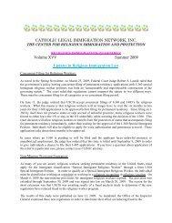 Summer 2009 - Catholic Legal Immigration Network, Inc.