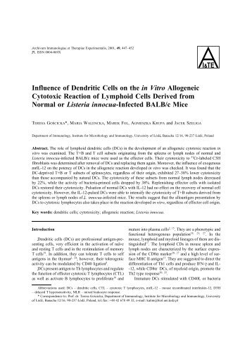 Influence of Dendritic Cells on the in Vitro Allogeneic Cytotoxic ...