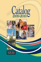2009-2010 Academic Calendar - Wor-Wic Community College