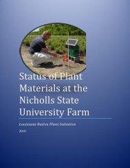 Status of Plant Materials at the Nicholls State University Farm
