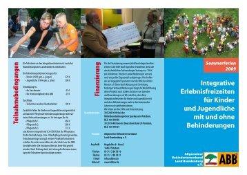 Flyer Erlebnisfreizeiten 2009 (PDF) - ABB eV