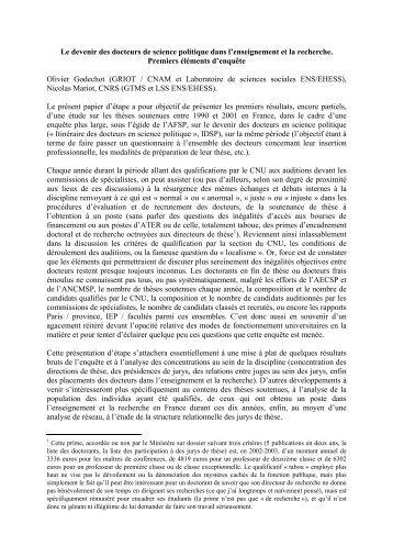 Devenir des docteurs de science politique et - Jourdan.ens.fr