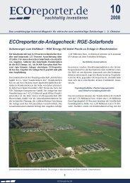 ECOreporter.de-Anlagecheck: RGE-Solarfonds