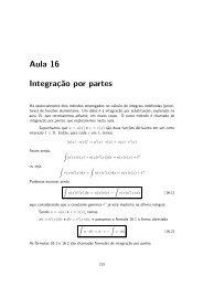 Aula 16 - Integração por Partes