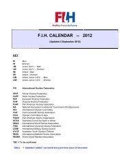 F.I.H. CALENDAR -- 2012 - International Hockey Federation