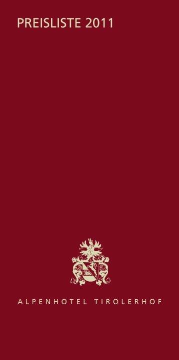 Preisliste 2011 - Alpenhotel Tirolerhof in Fulpmes, Stubaital ...