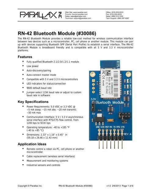RN-42 Bluetooth Module (#30086) - Parallax Inc