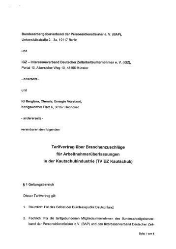 Tarifvertrag Kautschuk