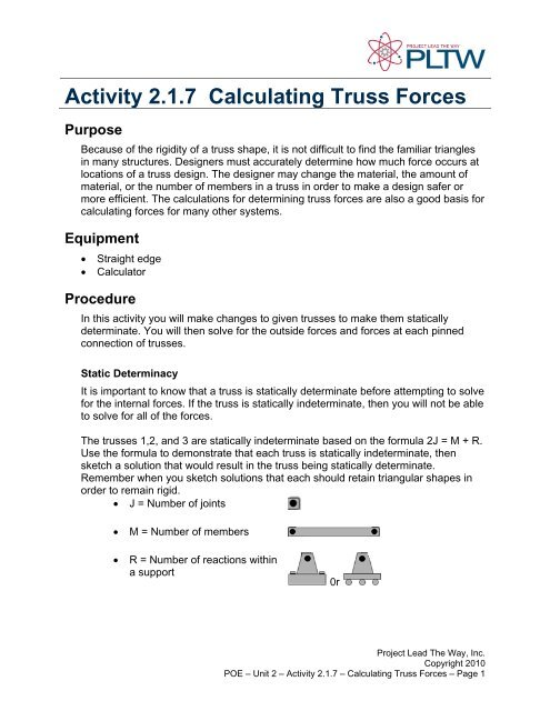 Activity 2 1 7 Calculating Truss Forces Purpose - Troy High School