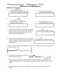 Waves Unit 10, Worksheet 2