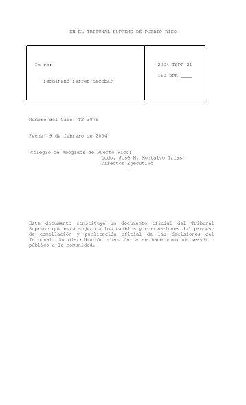 2004 TSPR 21 - Rama Judicial de Puerto Rico