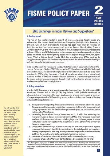 SME POLICY SERIES 2 : SME Exchanges in India - Federation of ...