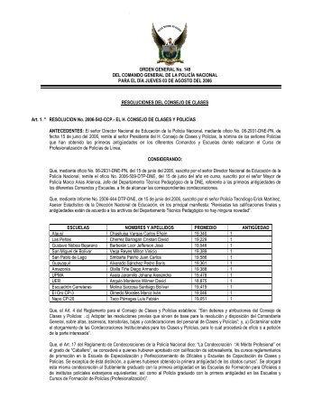 ORDEN GENERAL No. 149 DEL COMANDO GENERAL DE LA ...