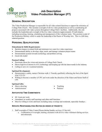 job description video production manager ft college park church