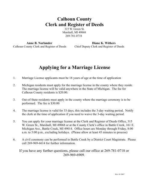 Applying for a Marriage License - Calhoun County