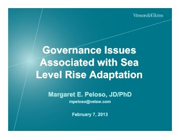 Governance Issues Associated with Sea Level Rise Adaptation