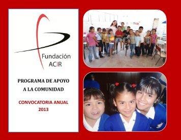 convocatoria anual 2013 programa de apoyo a la ... - Fundación Acir