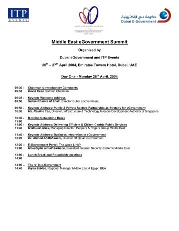 Middle East eGovernment Summit - ITP.net