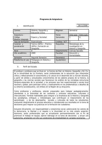 Programa de Asignatura I. Identificación Carrera Historia, Geografía ...