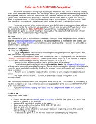 Rules for OLLI SURVIVOR Competition - Osher Lifelong Learning ...