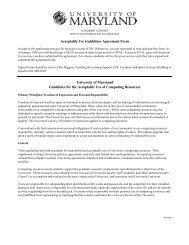 Acceptable Use Guidelines Agreement Form University of Maryland ...