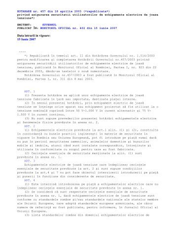 HG nr. 457/18.04.2003 - Ministerul Economiei