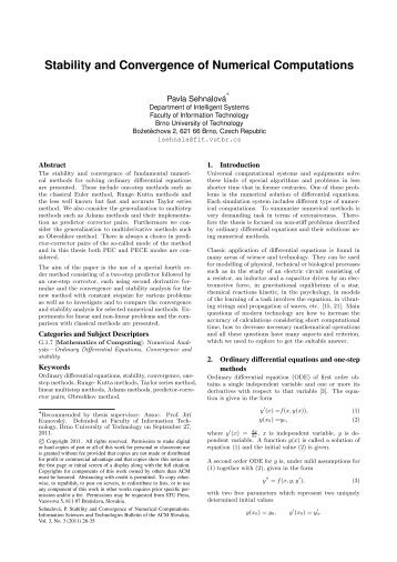 Stability and Convergence of Numerical Computations