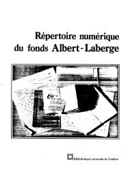 Répertoire numérique du fonds Albert-Laberge