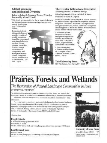 Iprairies, Forests, and Wetlands - Ecological Restoration - University ...