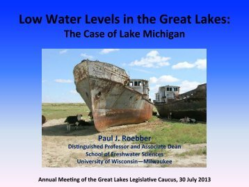 Low Water Levels in the Great Lakes: - CSG Midwest