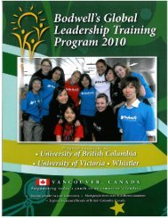 Bodwell's Global Leadership Training Program 2010 (in Canada)