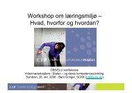 Workshop om læringsmiljø – Hvad, hvorfor og hvordan? - SCKK