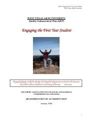(QEP) Engaging the First Year Student - West Texas A&M University