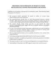 proforma for submission of projects under biotechnology-based ...