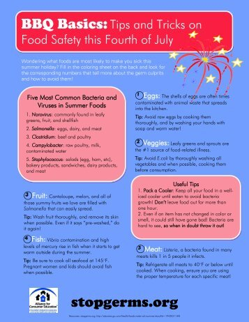 BBQ Basics Tip Sheet and Coloring Page - Stop Germs
