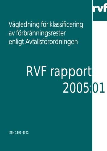 Vägledning för klassificering av förbränningsrester ... - Avfall Sverige