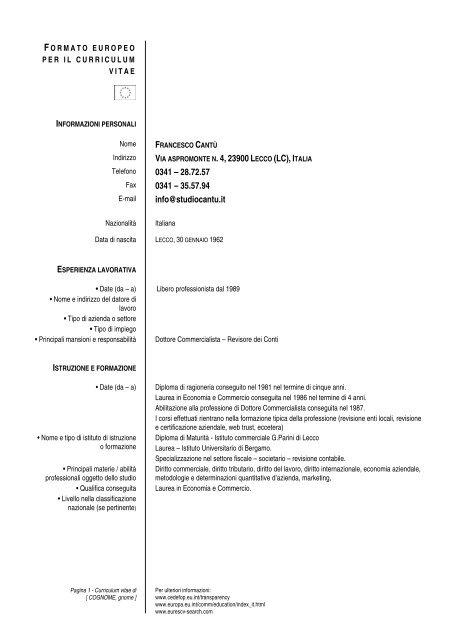 curriculum vitae europass commercialista