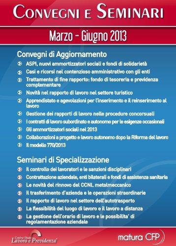 Marzo - Giugno 2013 - Centro Studi Lavoro e Previdenza