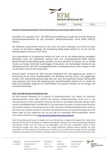 Die KFM Deutsche Mittelstand AG gibt den Kauf der Metalcorp ...