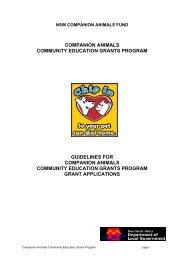 Companion Animals Community Education Grants Program