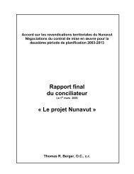 Accord sur les revendications territoriales du Nunavut Négociations ...