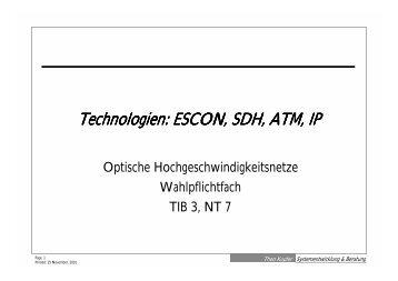 Technologien: ESCON, SDH, ATM, IP - Theo Kupfer ...