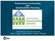 Performance Contracting and Sustainability Planning