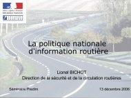 Présentation Politique nationale Information Routière - Predim