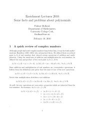 Complex numbers and polynomials - University College Cork