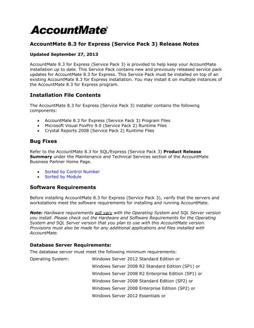 AccountMate 8 3 for Express (Service Pack 3) Release Notes