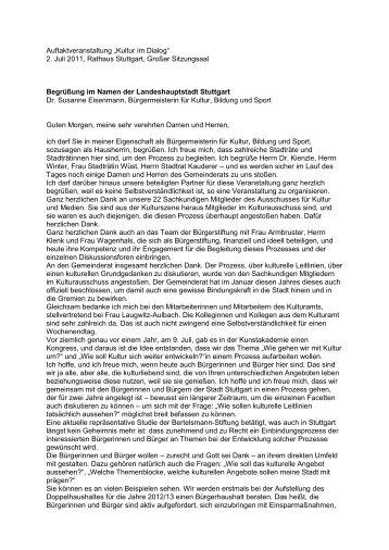12.1 Begrüßung Dr. Susanne Eisenmann - Kultur im Dialog