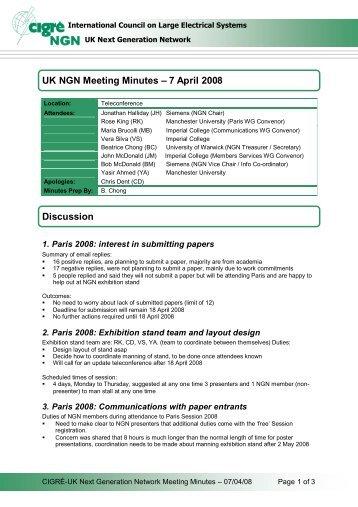 Teleconference Minutes 7 April 2008 - Cigre